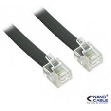 Nanocable Cable de teléfono 6P4C, M-M, negro, 2 m