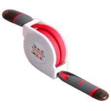 Cable Retráctil USB a Lightning+MicroUSB Rojo (Espera 2 dias)