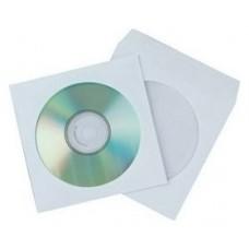 FUNDA CD/DVD PAPEL BLANCO VENTANA CAJA DE 50 UND. SAM