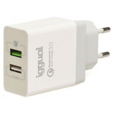 iggual Cargador 2xUSB carga rápida QC3.0 30W
