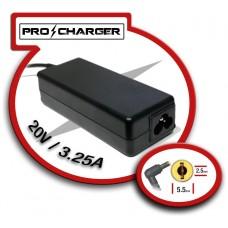 Carg. 20V/3.25A 5.5mm x 2.5mm 65w Pro Charger (Espera 2 dias)