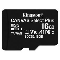 MICROSD KINGSTON 16GB CL10 UHS-1 CANVAS SELECT PLUS (Espera 4 dias)